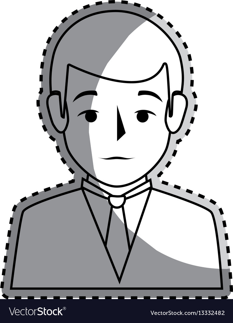 Sticker silhouette half body man formal style