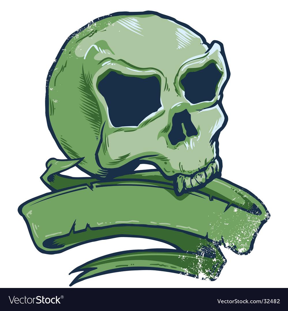 Tattoo style skull banner illustration