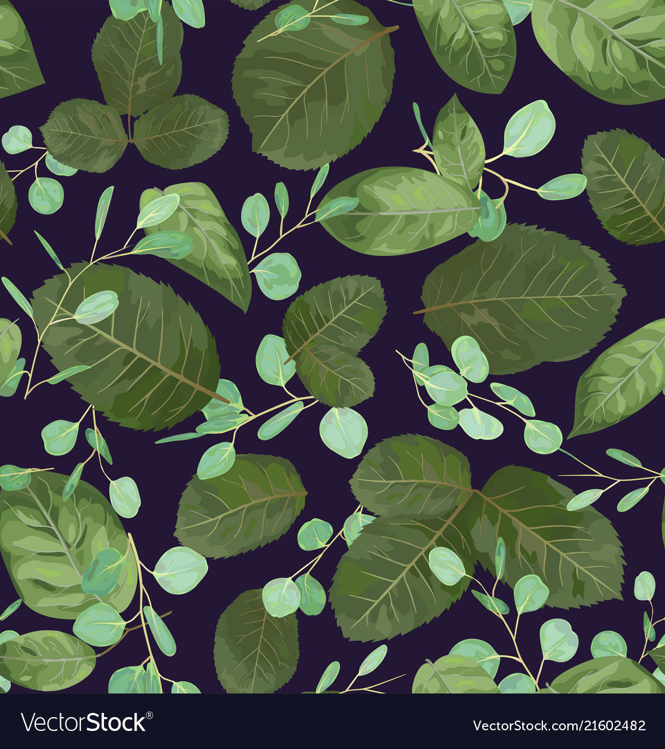 Watercolor pattern of leaves of roses and twigs