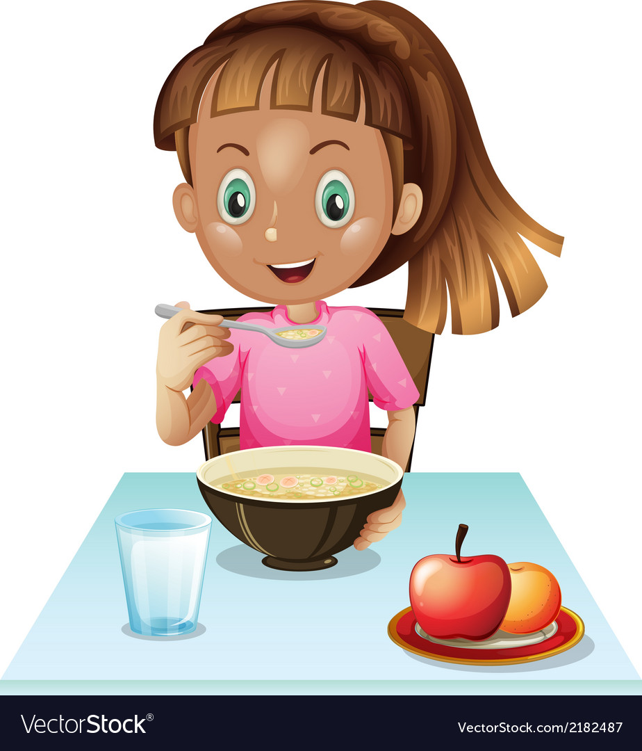 A Girl Eating Breakfast Royalty Free Vector Image-1404