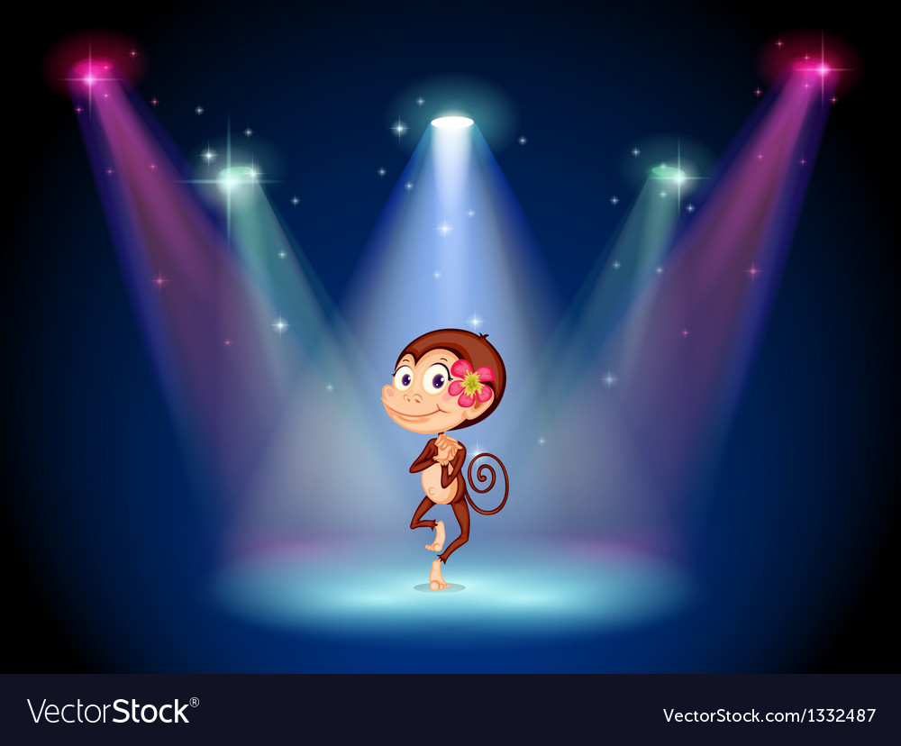 A monkey dancing at the center of the stage vector image