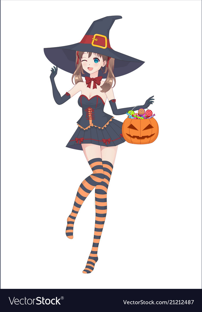 Anime manga girl in a witch costume with a big hat vector image  sc 1 st  VectorStock & Anime manga girl in a witch costume with a big hat