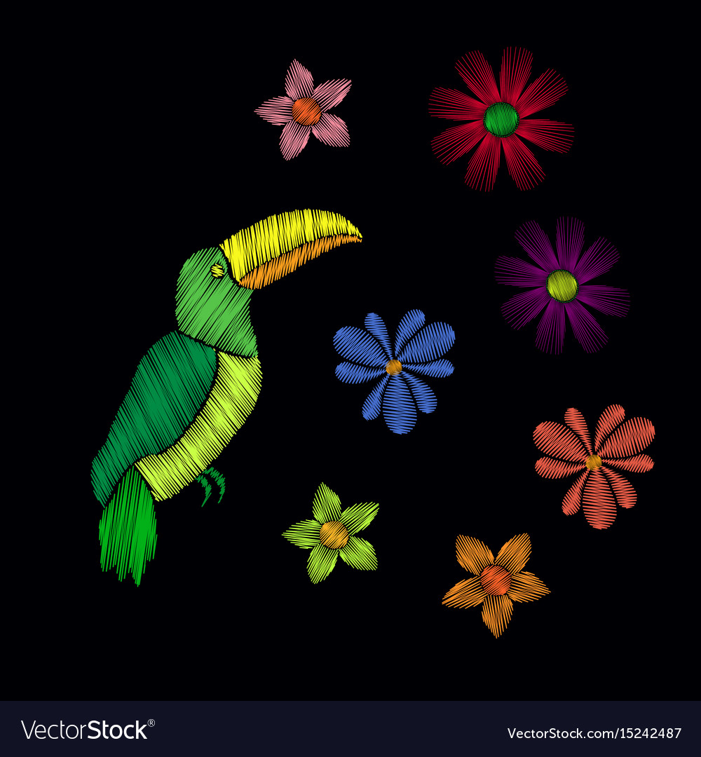 Beautiful toucan embroidery