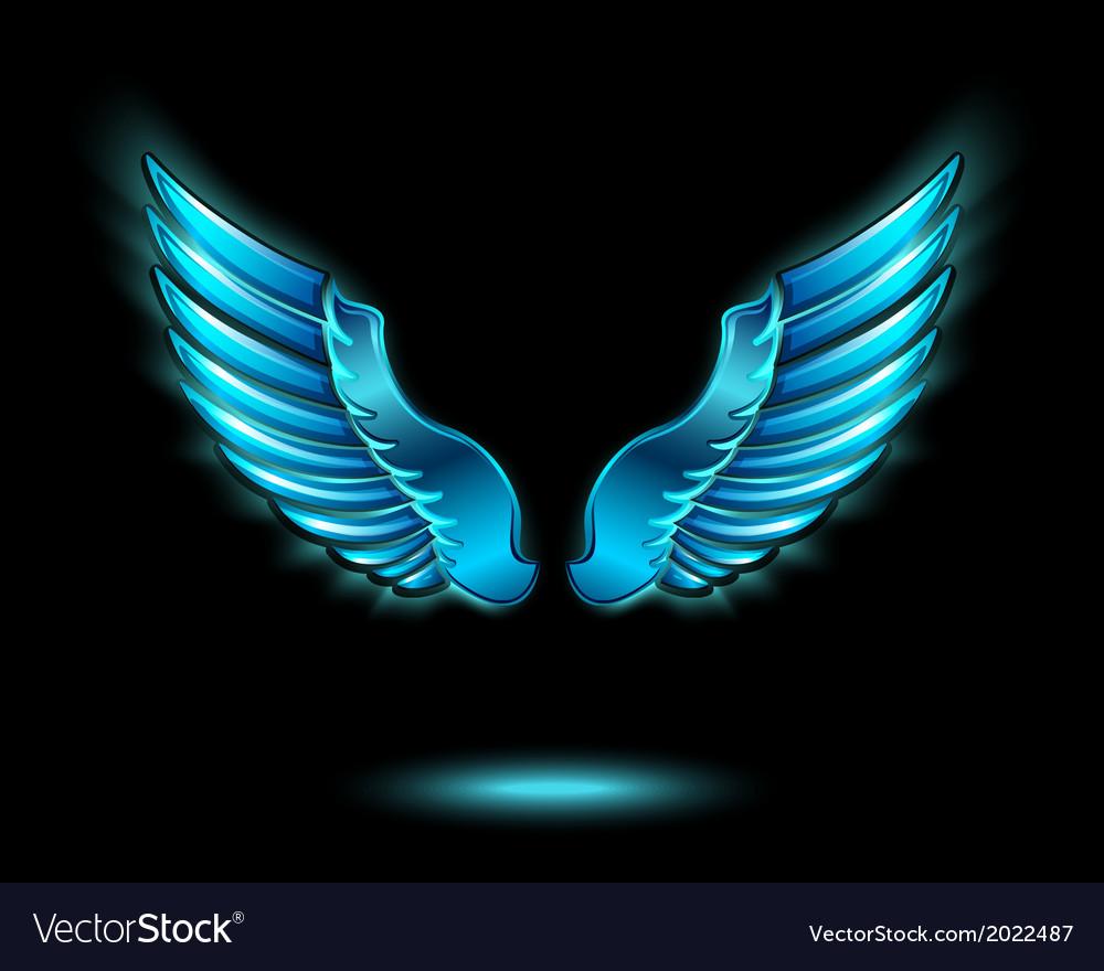 blue glowing angel wings royalty free vector image