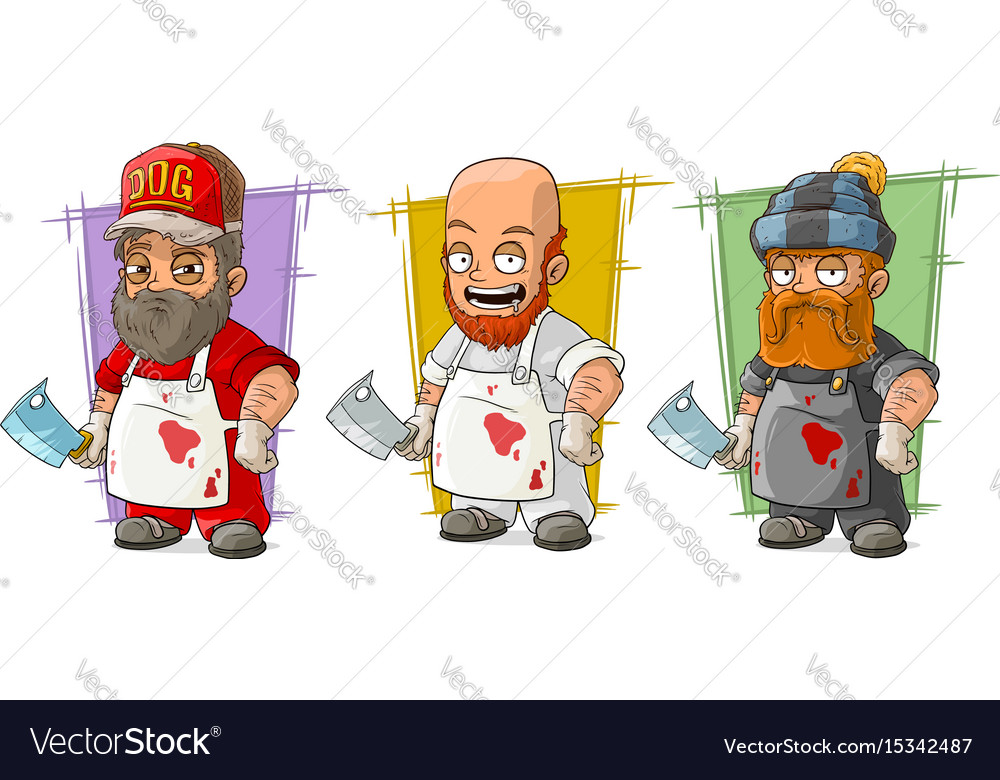 Cartoon butcher with knife character set vector image