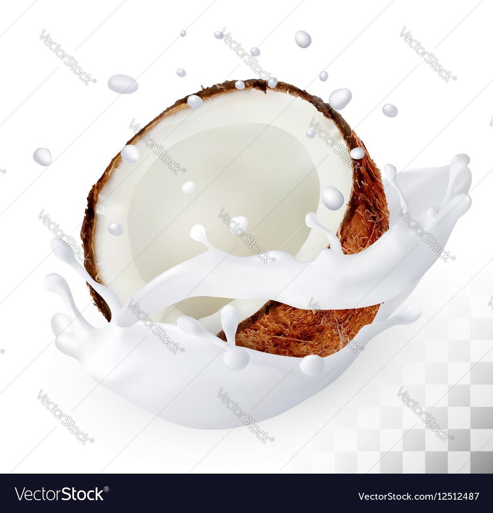 Coconut In A Milk Splash On Transparent Vector Image