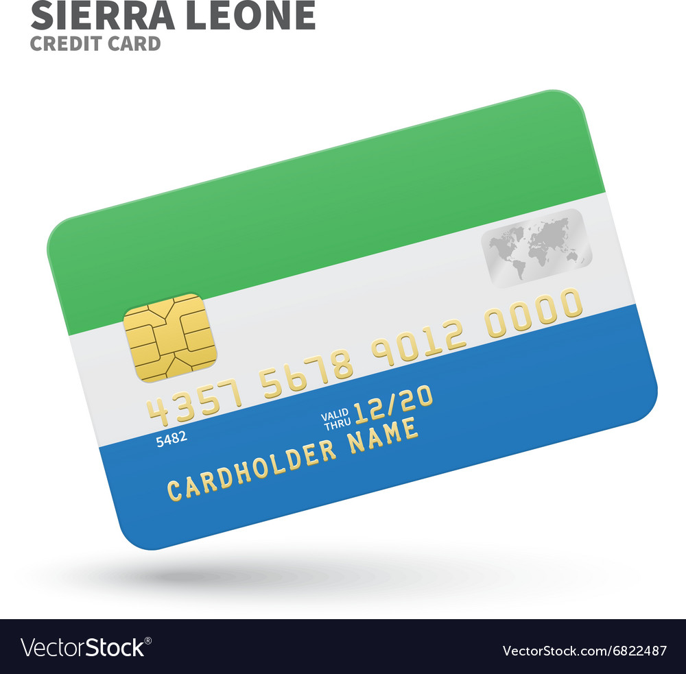 Credit card with Sierra Leone flag background for