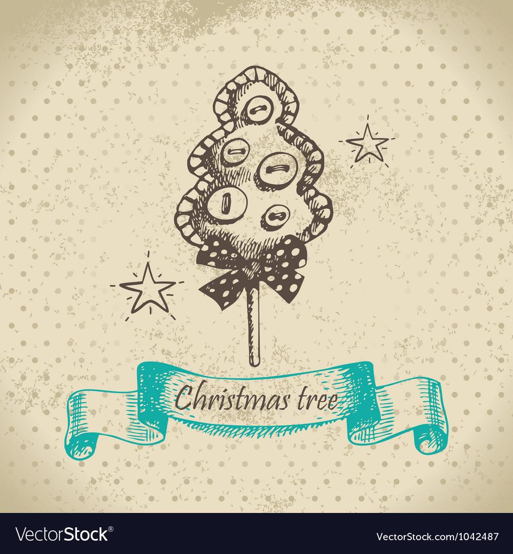 Hand drawn Christmas tree design vector image