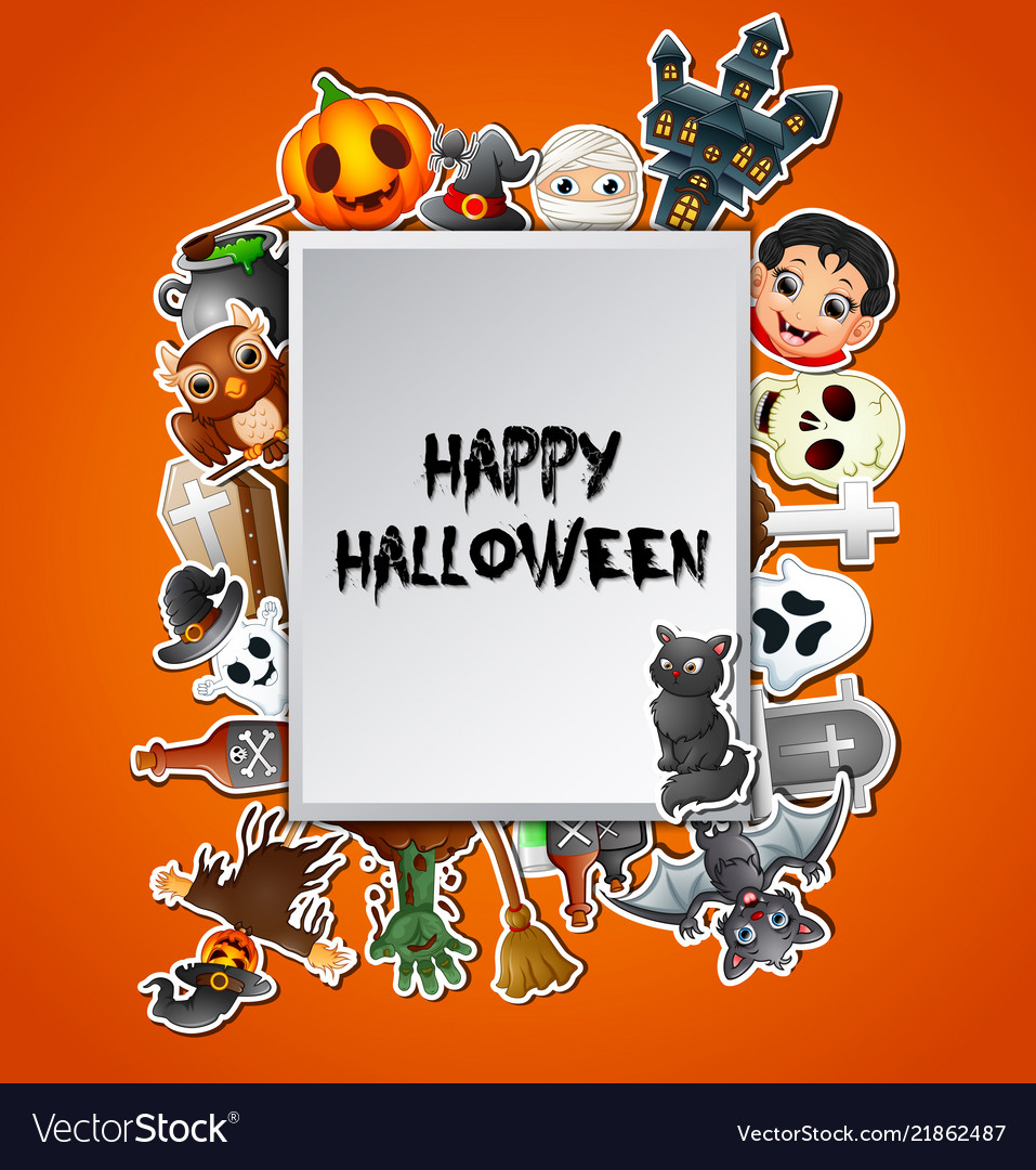 Happy halloween square card celebrations