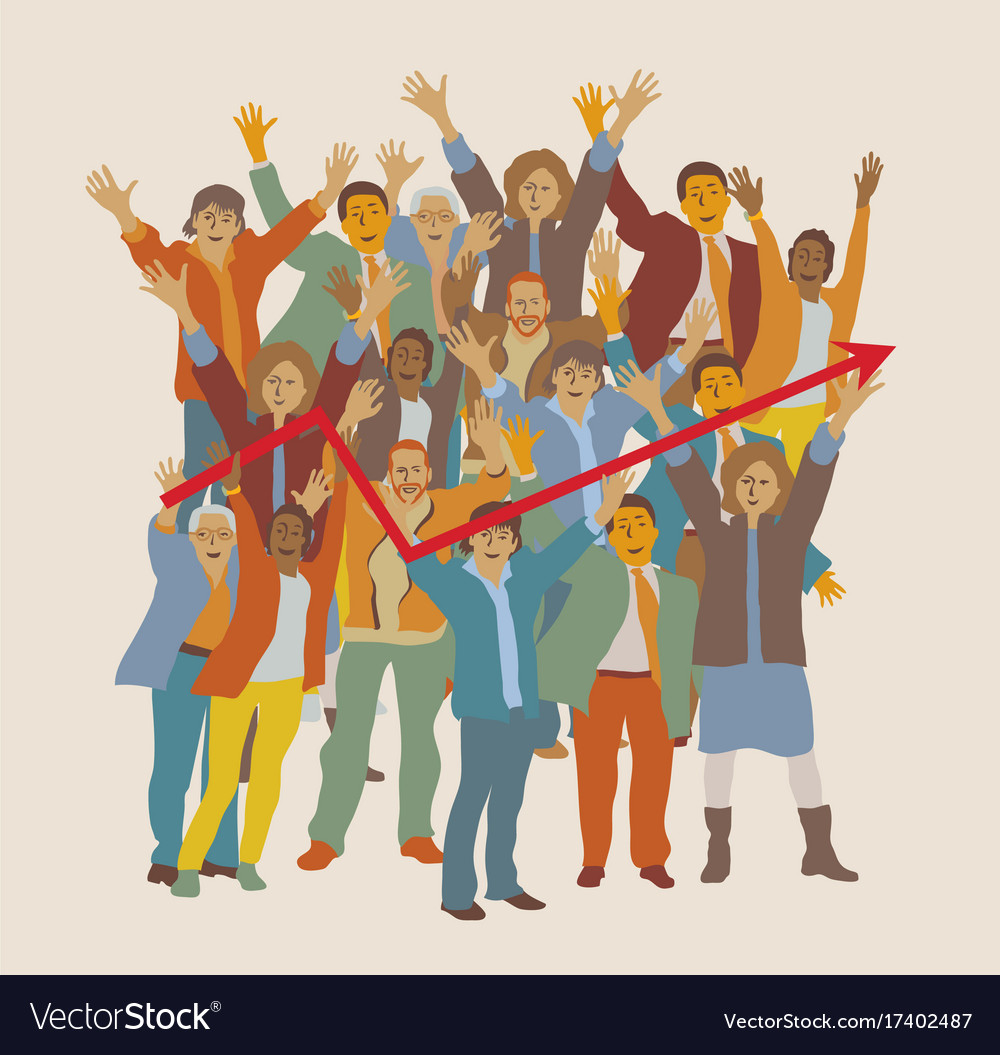 Happy team big group business people chart vector image