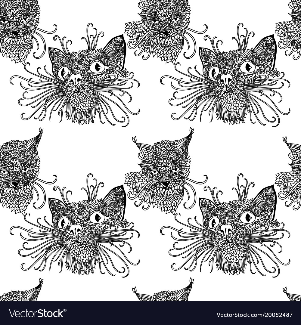 Seamless pattern with cute kats cat background in
