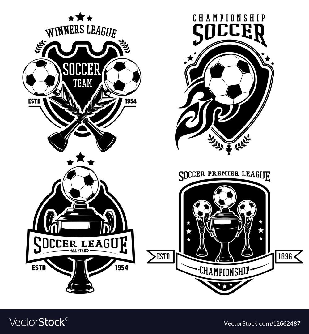 Soccer Black Badges Set vector image