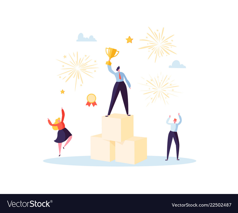 Successful businessman with prize on podium