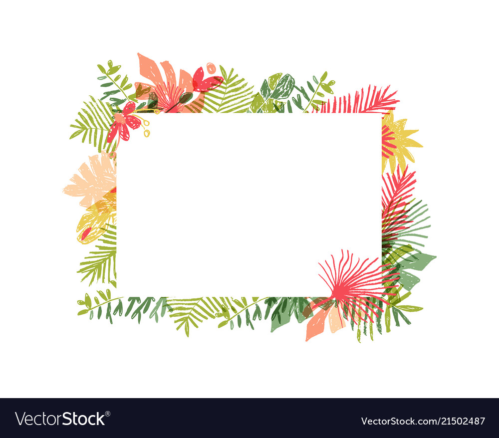 Tropical flower composition floral jungle frame