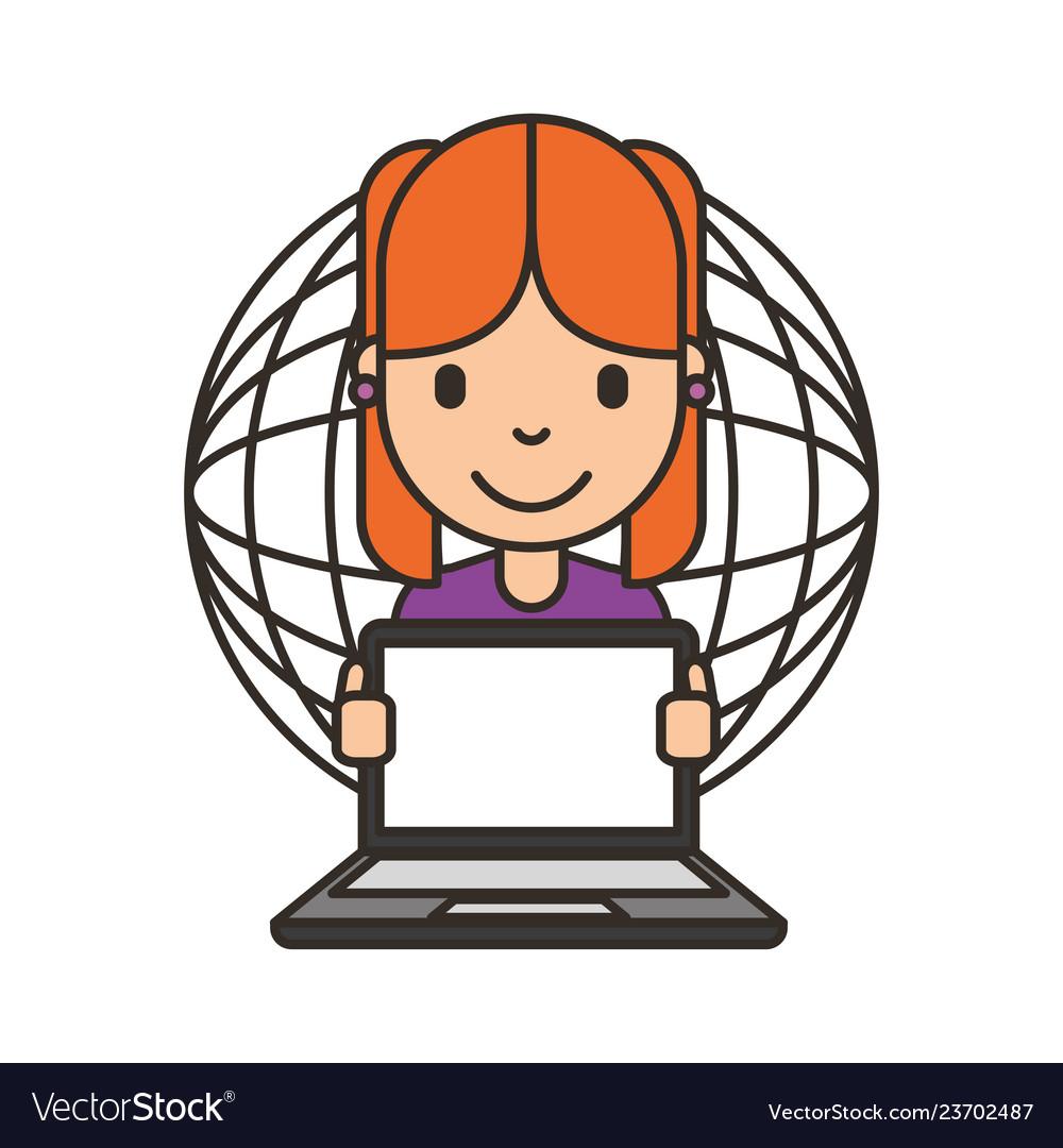 Woman cartoon with laptop