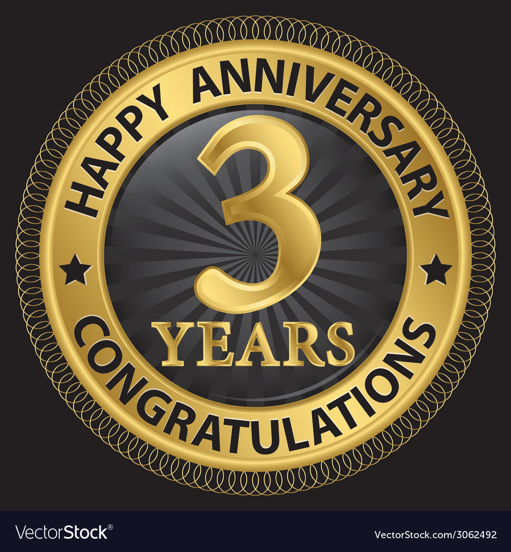 3 years happy anniversary congratulations gold