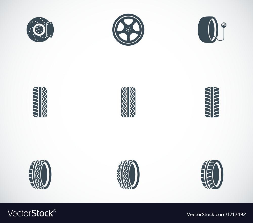 Black tire icons set