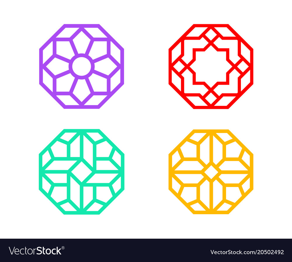 Chinese octagon window frame with indian pattern vector image
