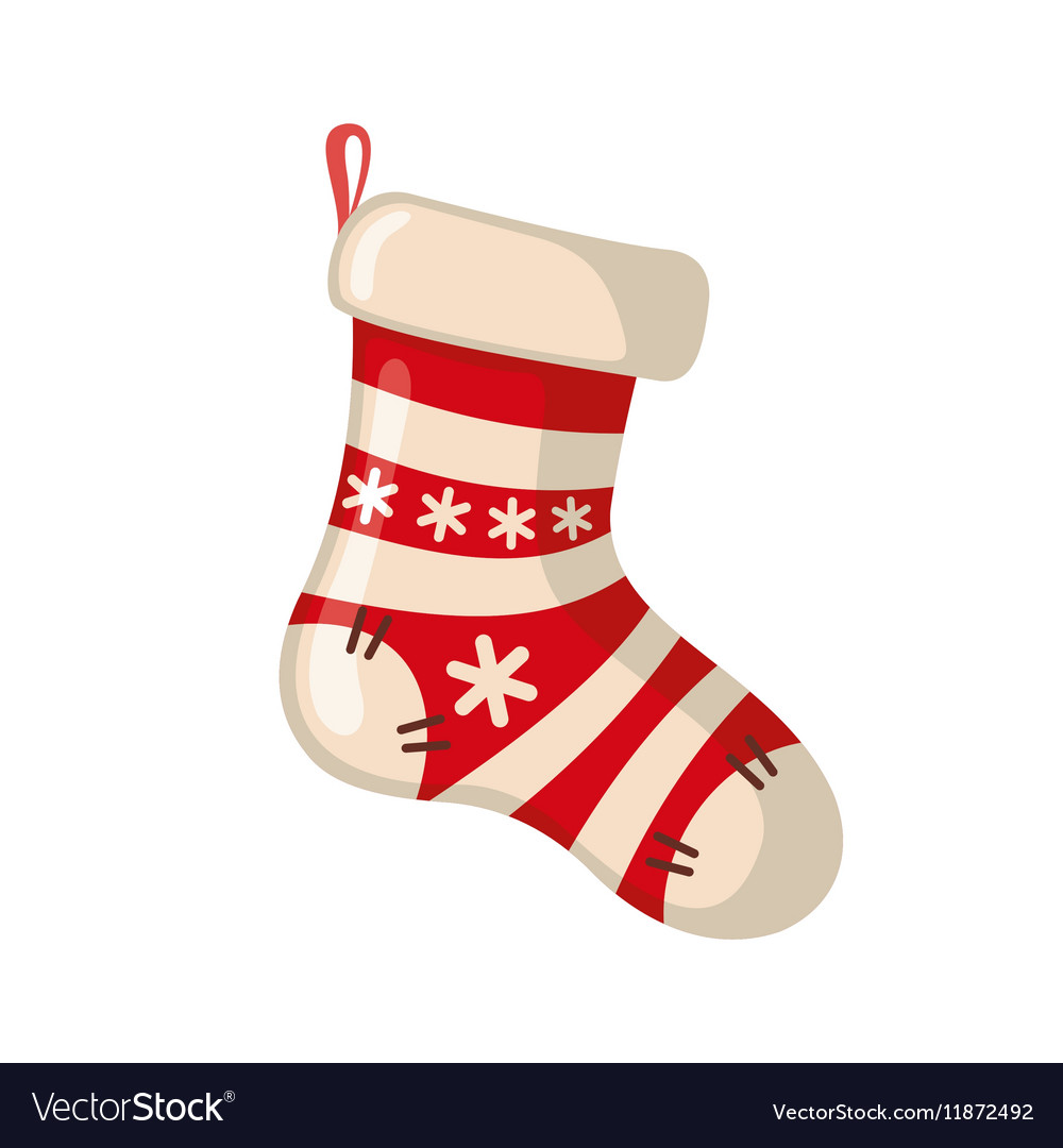 Christmas sock icon in flat style