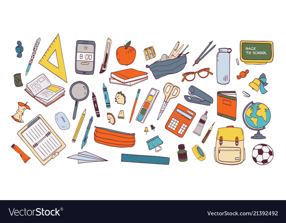 Collection of school supplies or stationery
