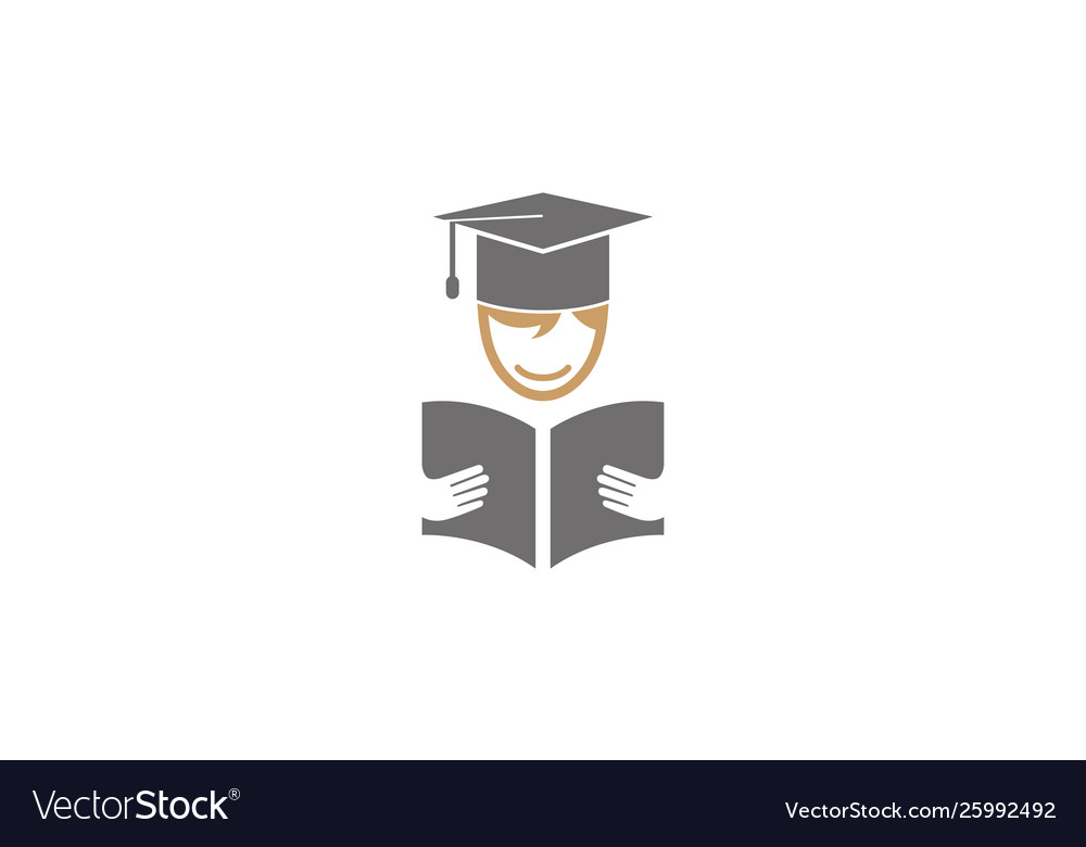 Creative student open book logo design symbol
