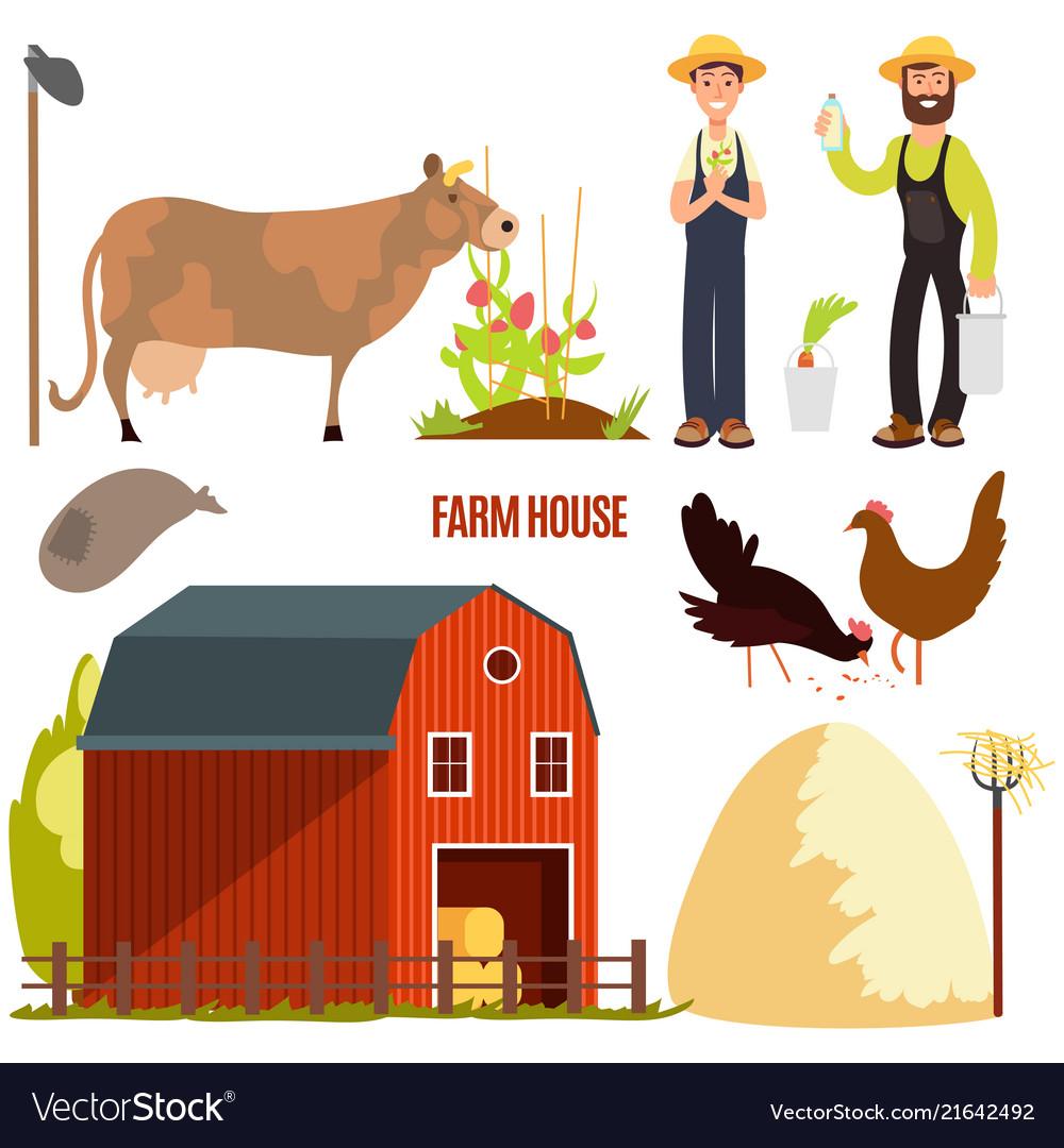 Farming farm cartoon character elements on