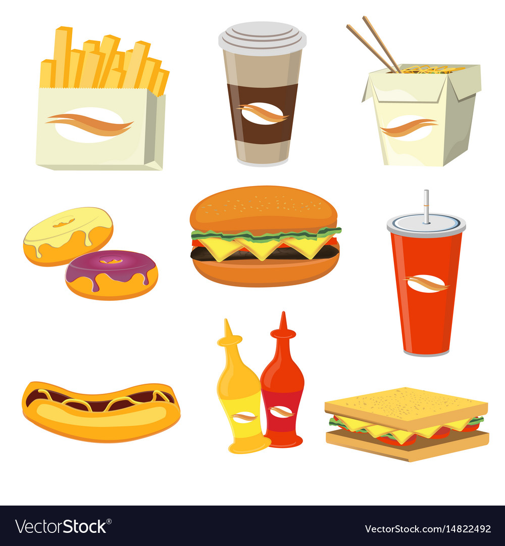 Fast food meals and drinks flat icons