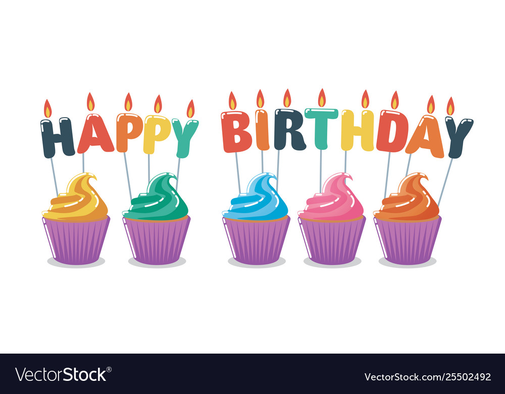 Awesome Happy Birthday Cupcakes Royalty Free Vector Image Funny Birthday Cards Online Inifofree Goldxyz