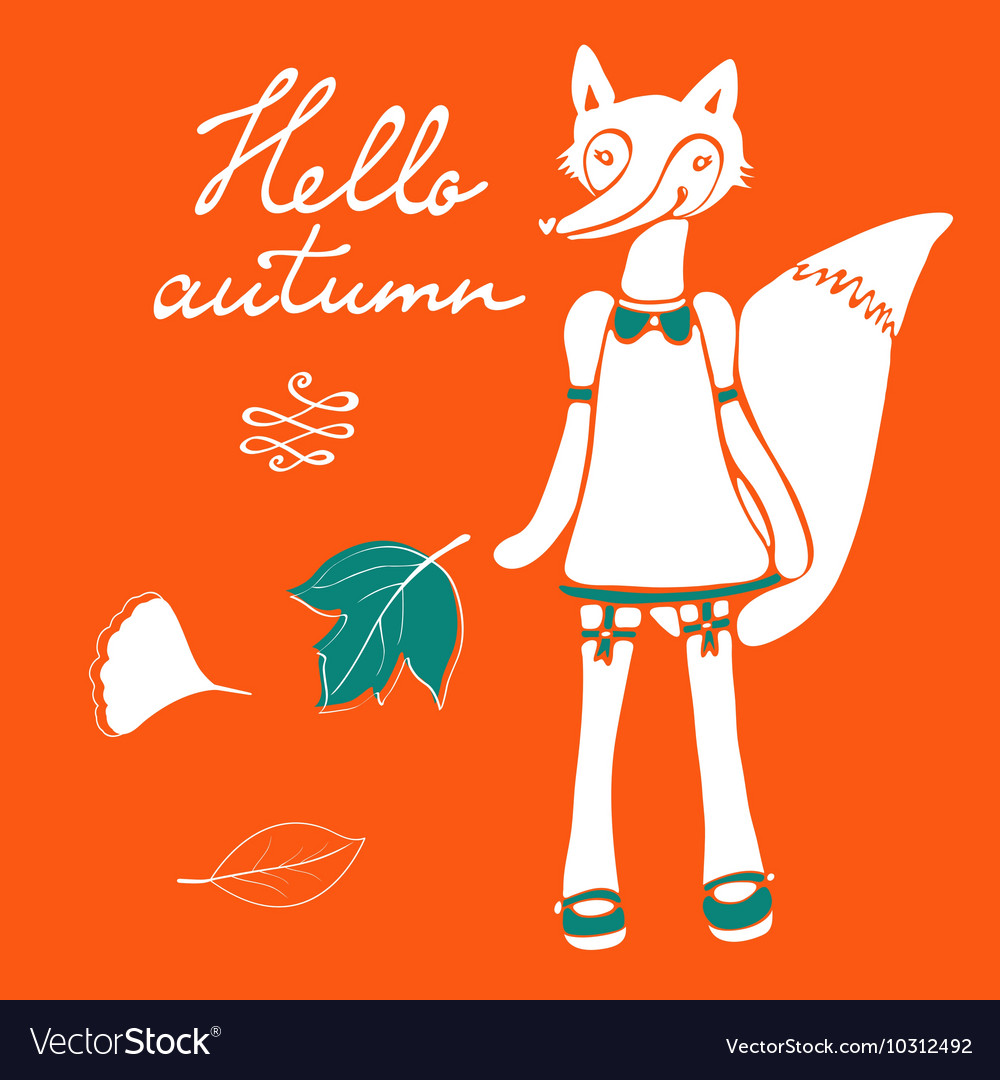 Hello autumn elegant card with cute fox character