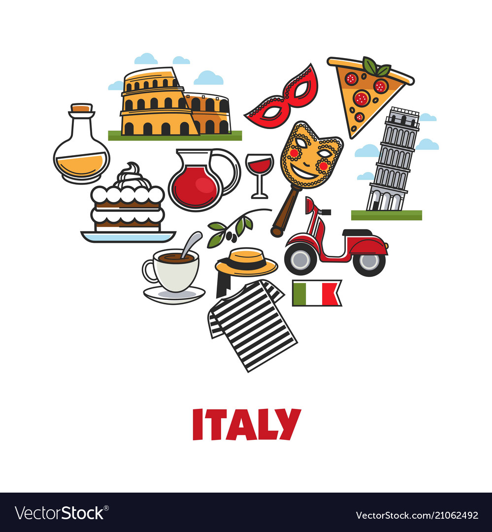 Italy promo poster with national symbols set in