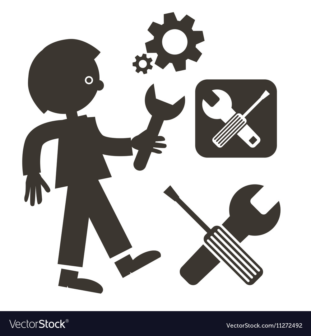 Man with Wrench Icon Tools Symbols Screwdriver