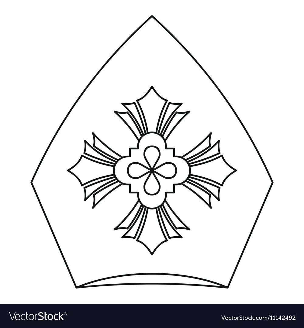 Pope Hat Icon Outline Style Royalty Free Vector Image