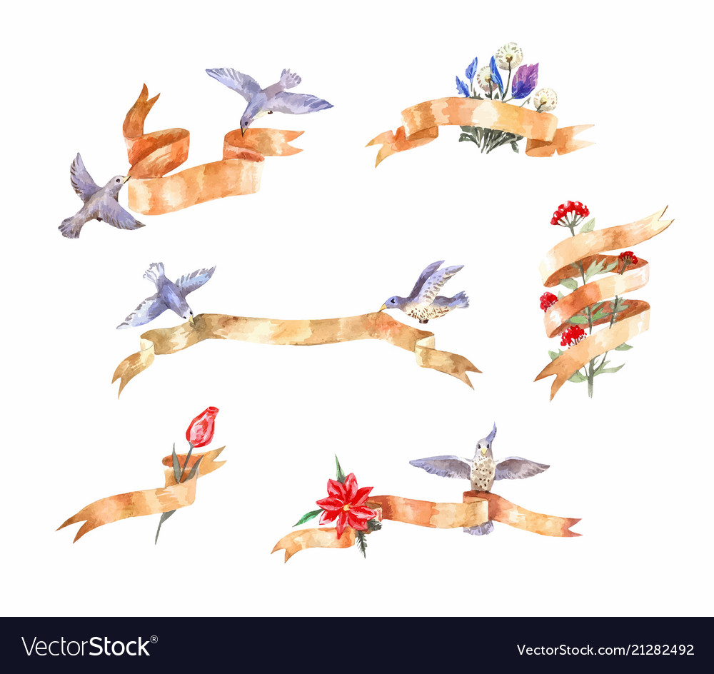 Set of watercolor vintage ribbons with birds and