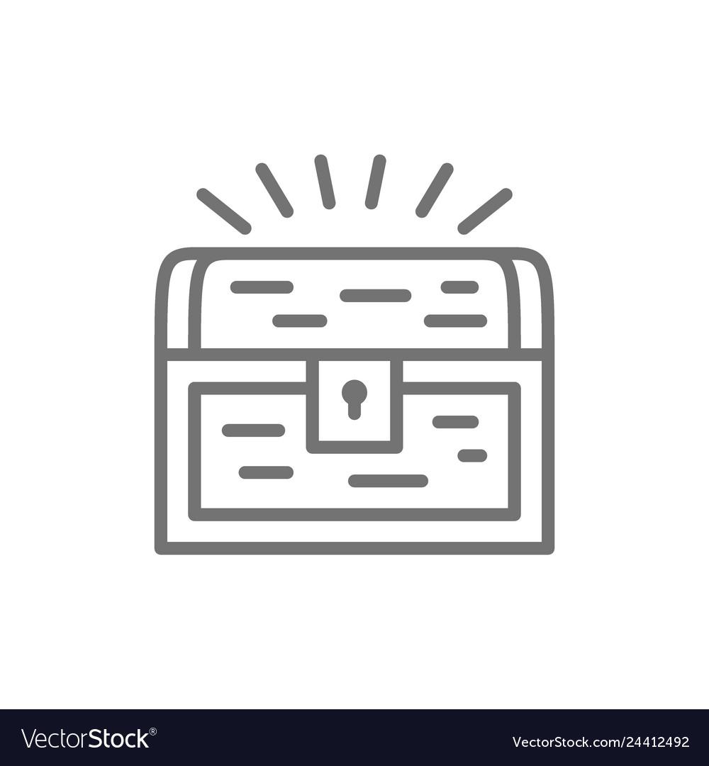 Treasure chest line icon