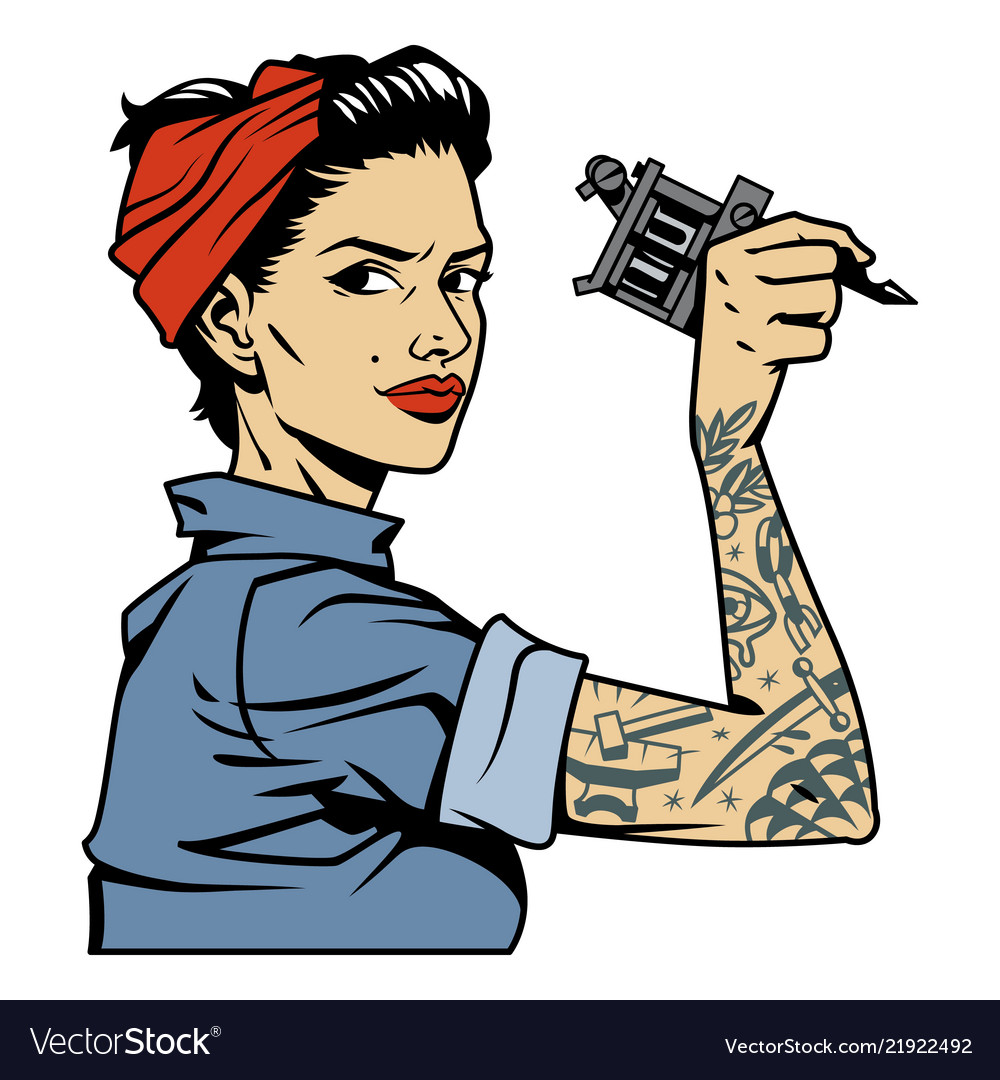 vintage attractive tattooist pin up girl vector image
