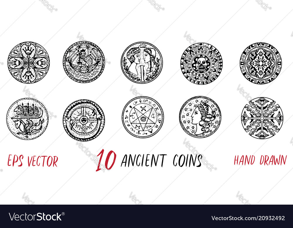 Vintage collection with ten ancient coins