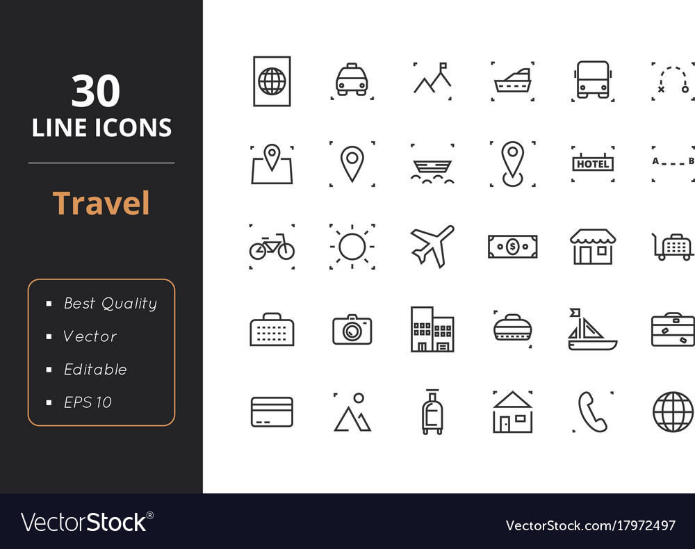 30 travel line icons