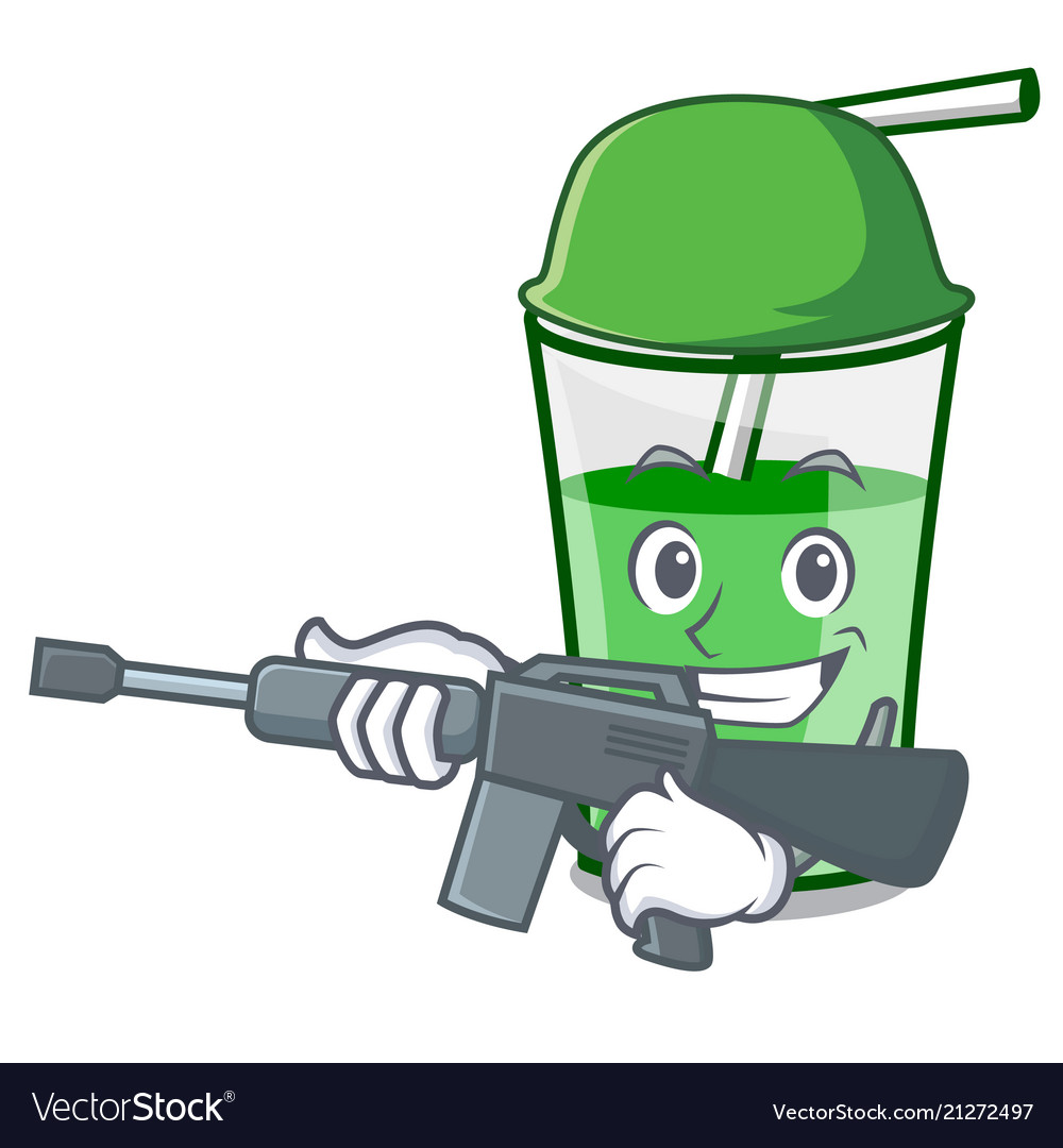 Army green smoothie character cartoon