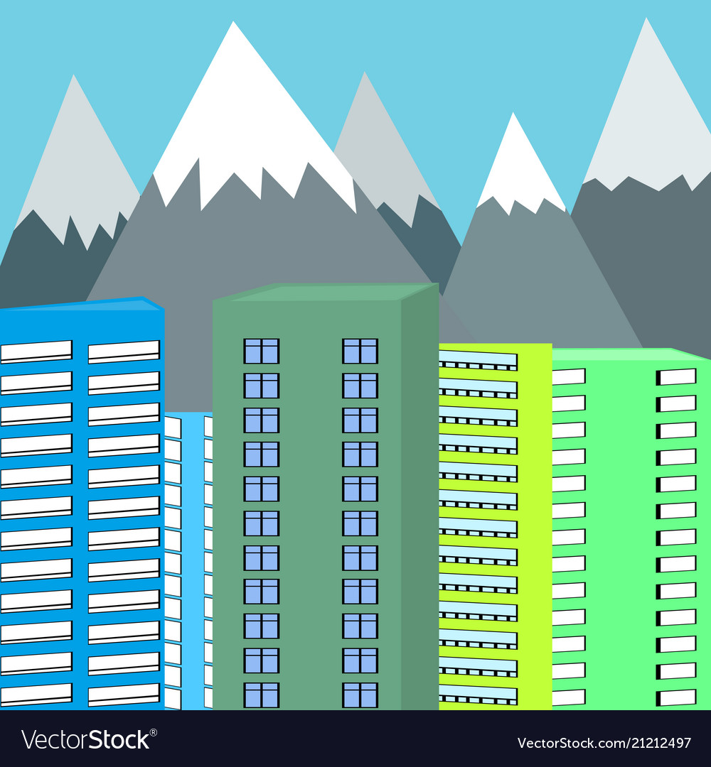 Background of mountains and skyscrapers