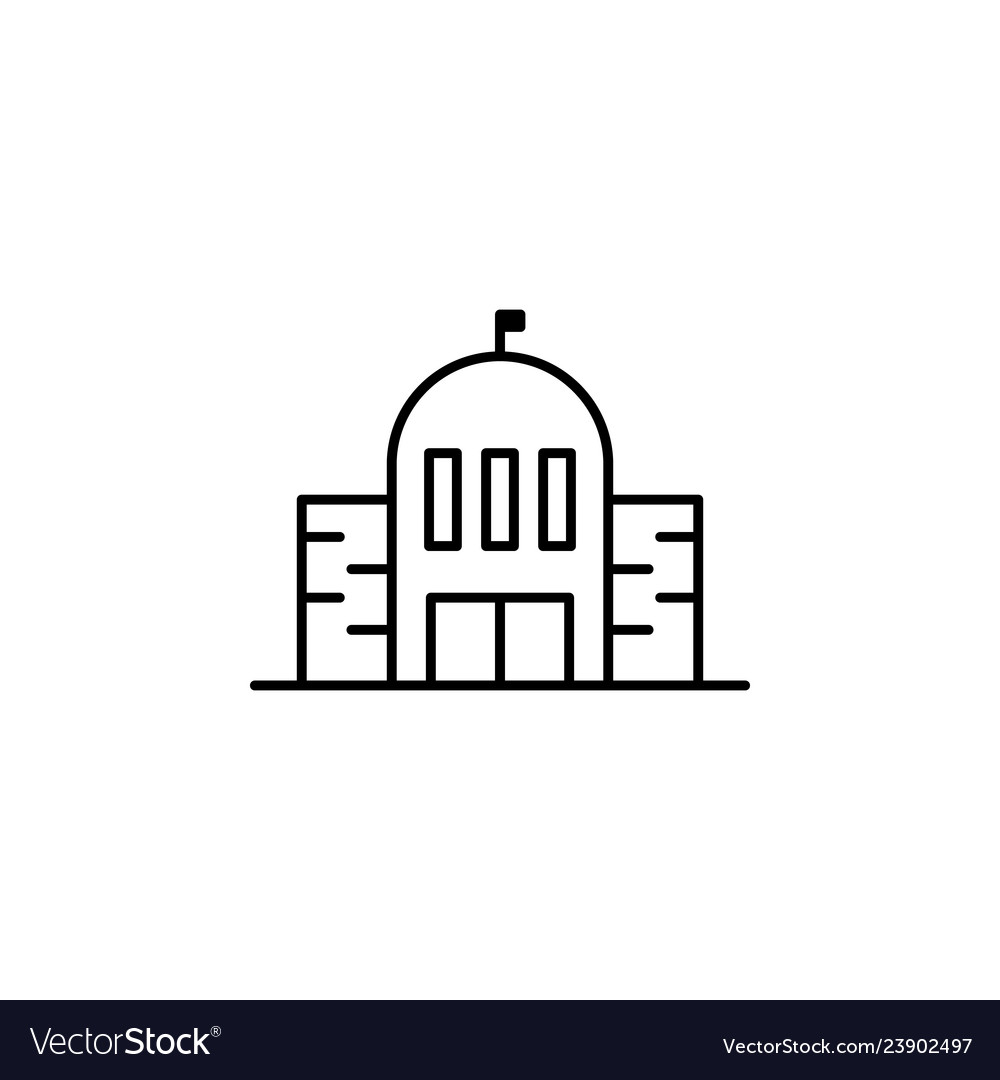 Building school outline icon element of