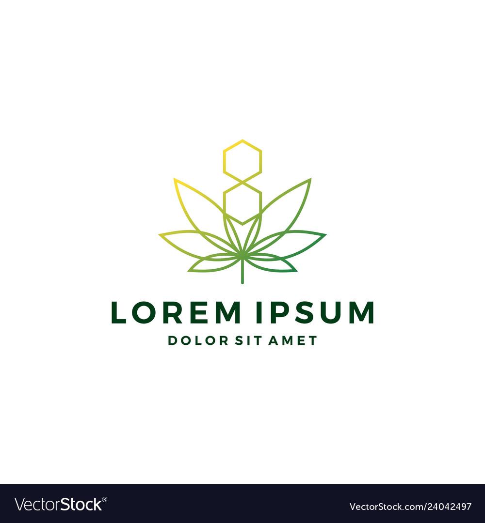 Cannabis hemp marijuana leaf geometric logo