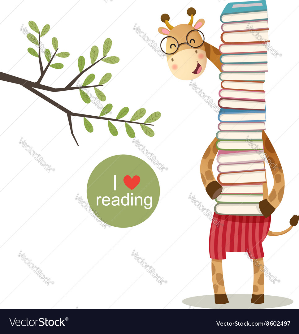 Cartoon giraffe holding a pile of books vector image