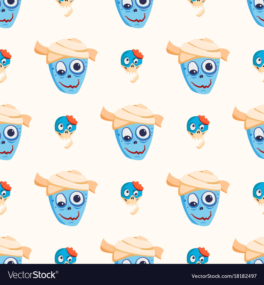 Colorful zombie scary cartoon character seamless vector image