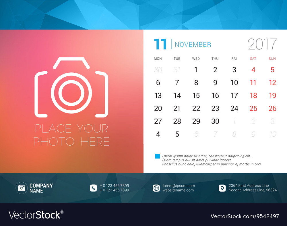 Desk Calendar Template for 2017 Year November