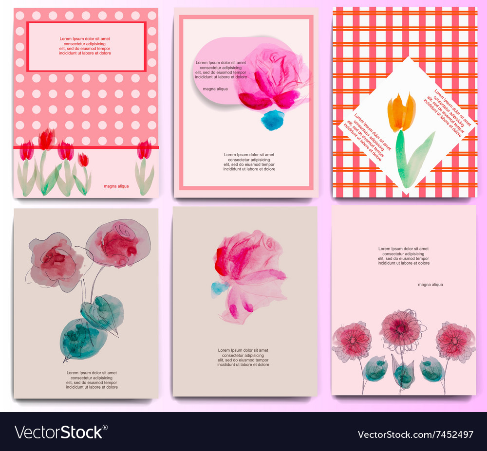 Floral invitation set vector image