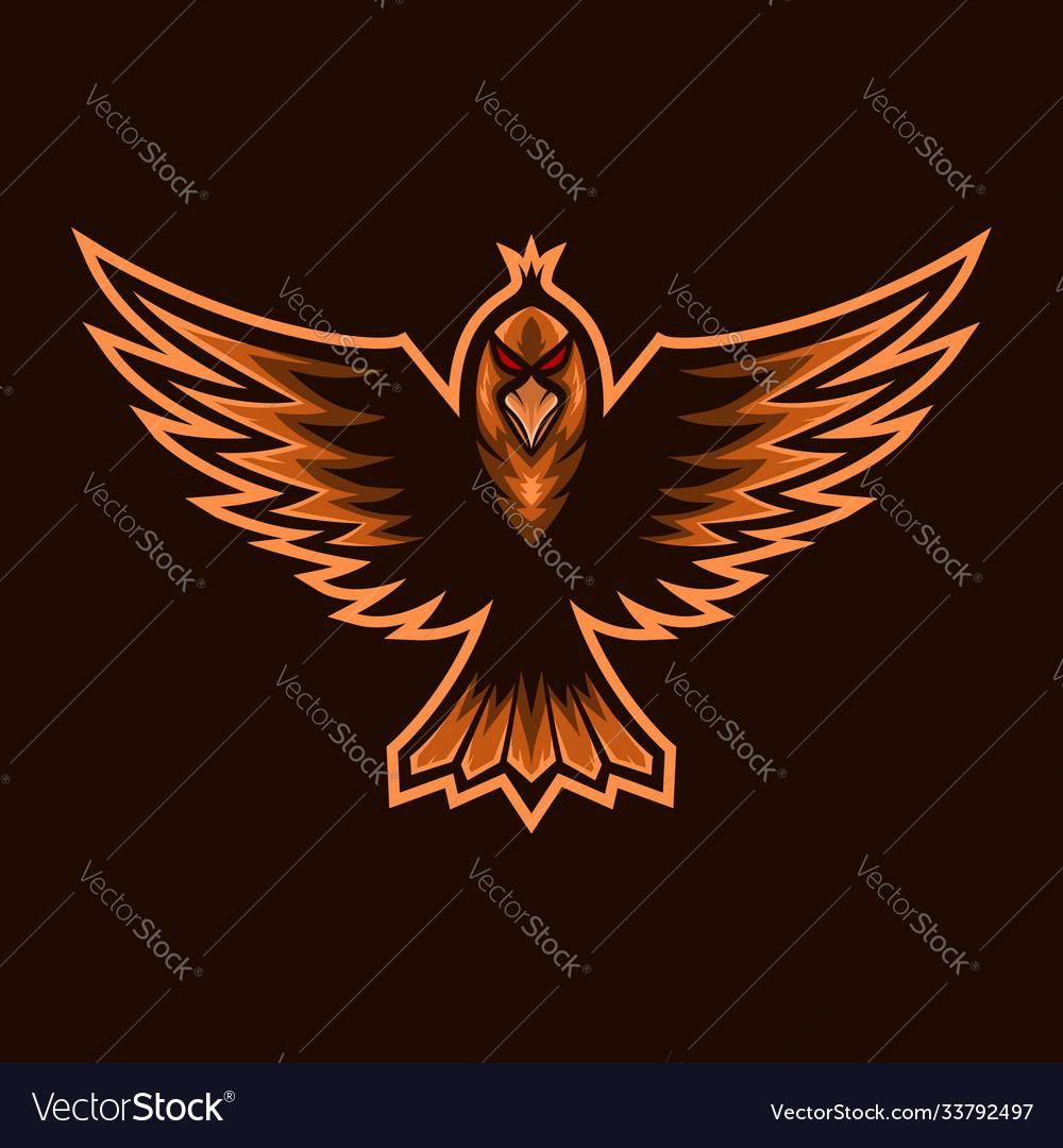 Fly bird mascot e sports logo