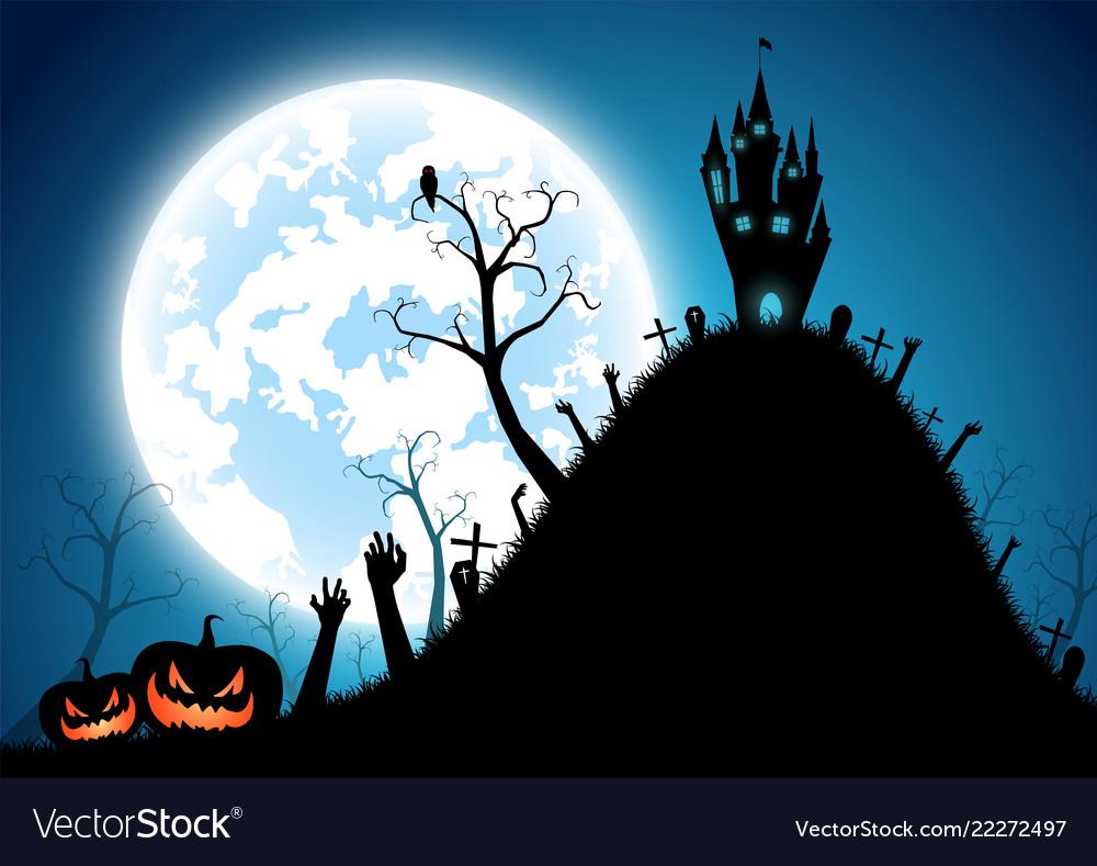 Halloween festival backgroundfull moon on dark