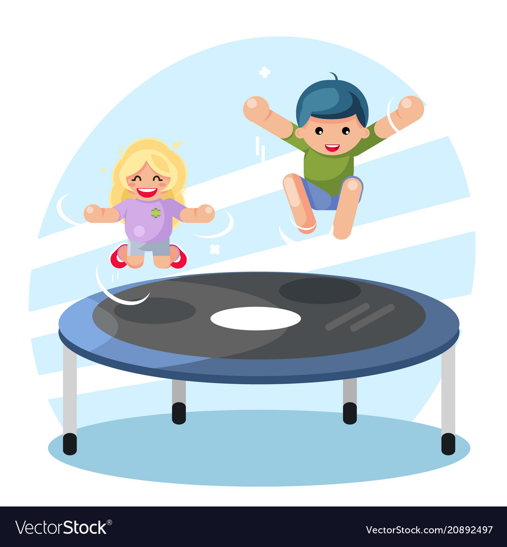 Happy cute boy girl children jump on trampoline
