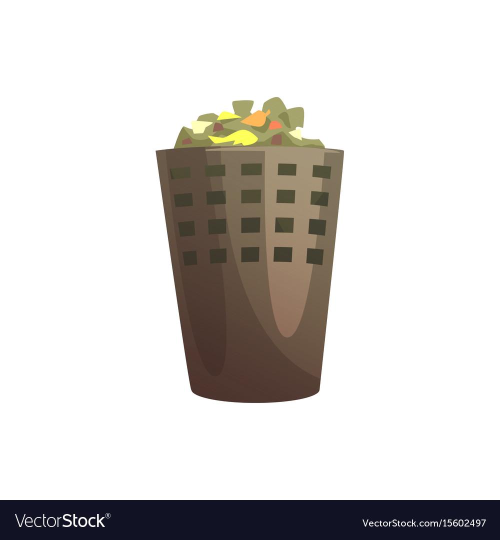 Indoor trash bin waste processing and utilization