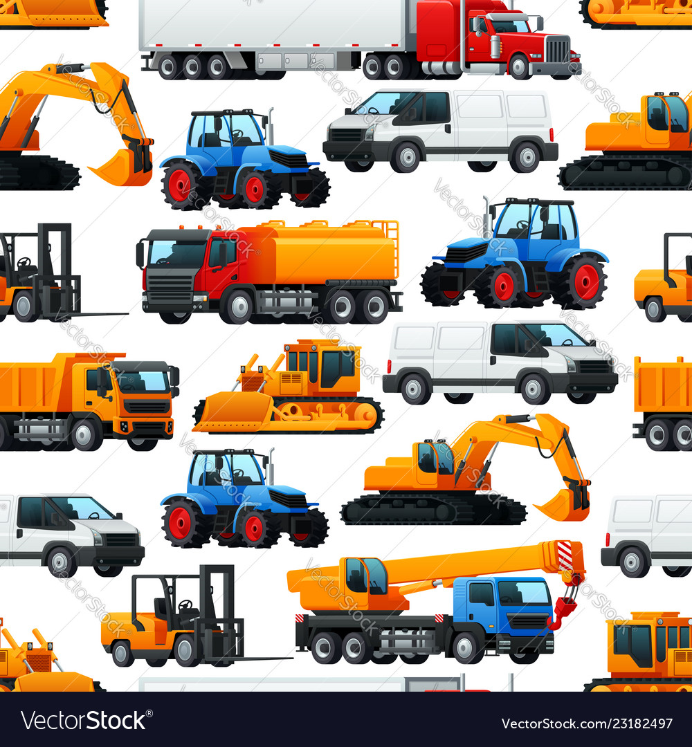 Industrial machinery vehicles seamless pattern